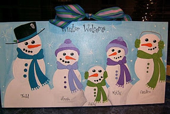 Custom Snowman Family Winter Christmas by dreamcustomartwork, $40.00