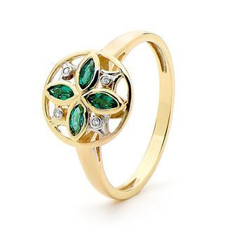 Buy our Australian made Emerald and Diamond Petal Ring - BEE-25392-G online. Explore our range of custom made chain jewellery, rings, pendants, earrings and charms.