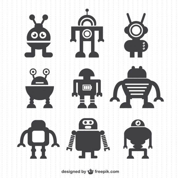 Silhouettes collection de robots de vecteur Vecteur gratuit