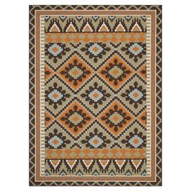 """Anchor your patio seating group or dining table in classic style with this artfully loomed indoor/outdoor rug, showcasing a Southwestern-inspired motif for eye-catching appeal.  Product: RugConstruction Material: PolypropyleneColor: Green and terracottaFeatures:  Power-loomedMade in TurkeySuitable for indoor or outdoor use Pile Height: 0.25"""" Note: Please be aware that actual colors may vary from those shown on your screen. Accent rugs may also not show the entire pattern that the ..."""