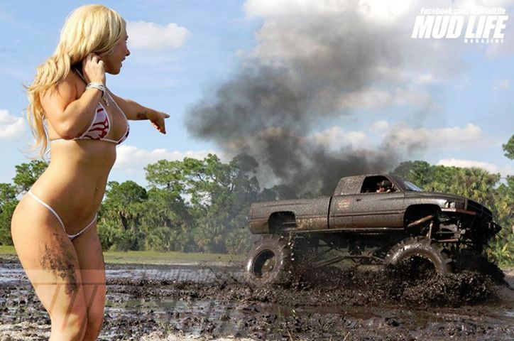 How come the Dodge Ram is muddy but not the girl ?