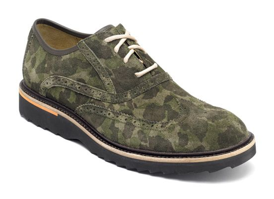 Casual dress shoe meets adventure foot attire, the Rockport Union Street  Wingtip Camo look cool and feel great. The lightweight shock-absorbent EVA  outsole ...