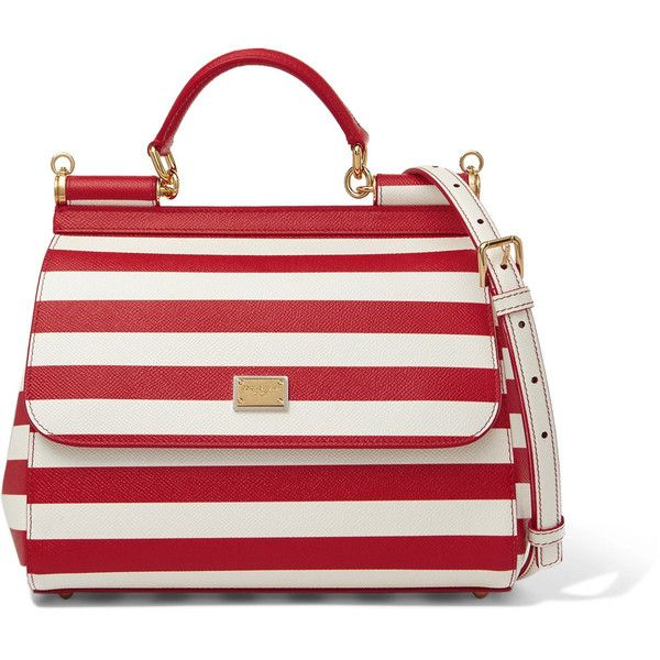 Dolce & Gabbana Borsa striped textured-leather shoulder bag ($1,390) ❤ liked on Polyvore featuring bags, handbags, shoulder bags, white, striped shoulder bag, stripe purse, top handle purse, white shoulder handbags and dolce gabbana handbags