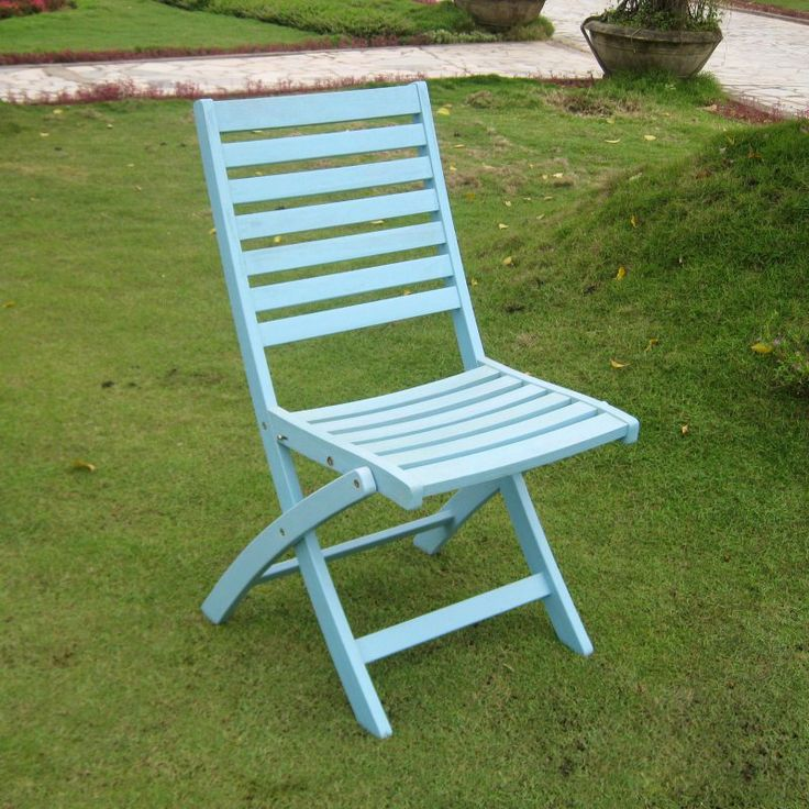 Nice Outdoor International Caravan Chelsea Acacia Folding Ladder Back Patio Chair    Set Of 2 Sky Blue Amazing Ideas