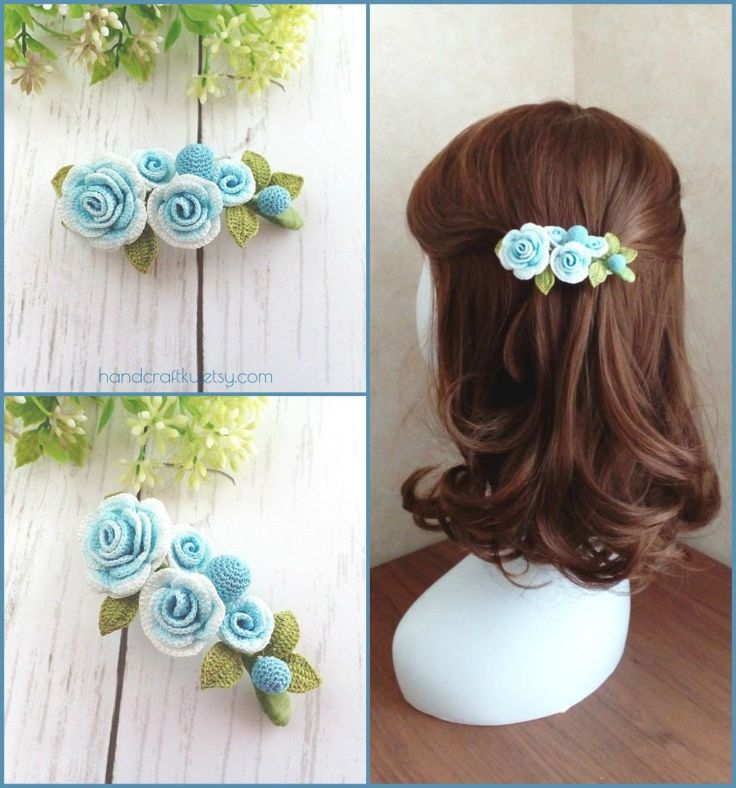 French barrette, Blue rose hair clip, Crochet flower hair clip, Women's hair claw clip, Blue hair clip, Personalized hair clip  #crochet #crochetflower #hairclip #frenchbarrette #barrette #hairaccessories #rose #blue #womenswear #handmade #etsy #etsyshop