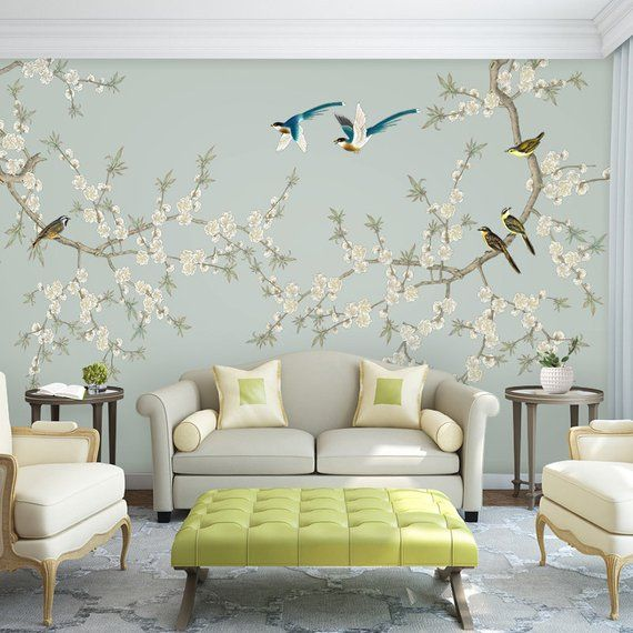 Wallpaper Magnolia Floral on Light Blue Background