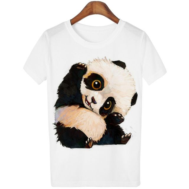Harajuku Panda Print T Shirt Women Tshirt 2016 Summer Style Short Sleeve Ladies Tops T-shirt Femme Casual White Tees Cartoon #Dresses #Sleeveless
