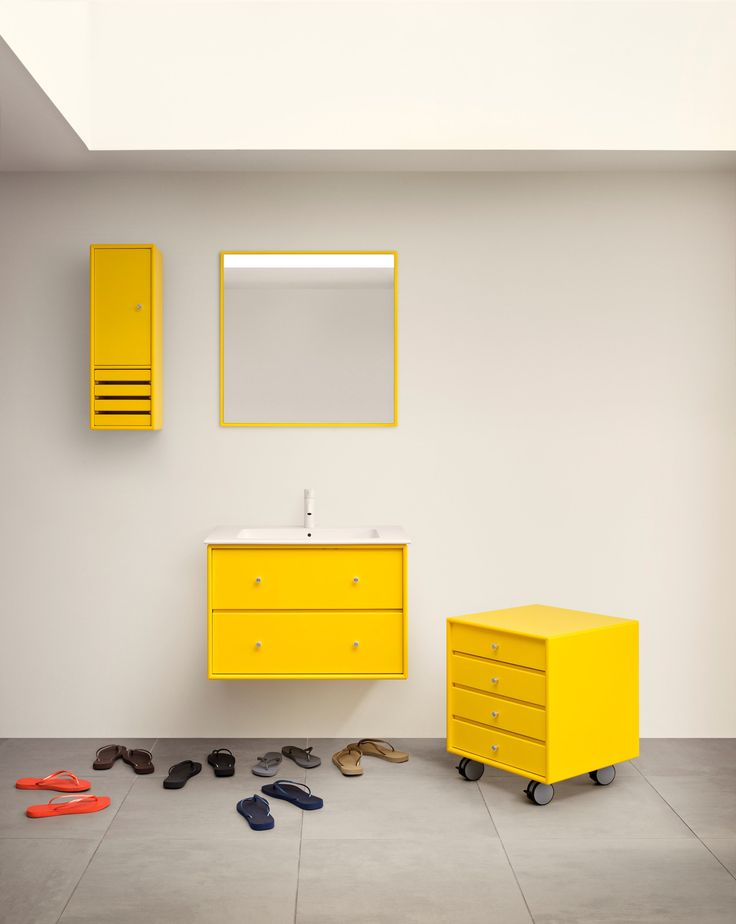 Bathroom in Tokyo Yellow. #montana #furniture #danish #design #interior #bathroom #yellow