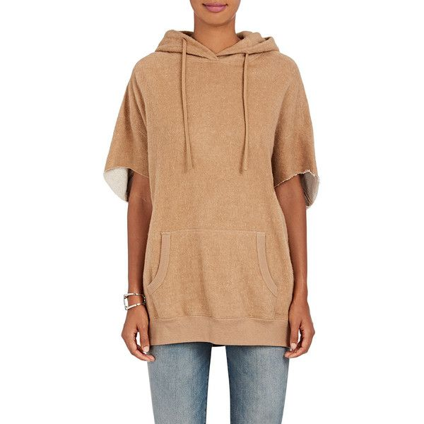 R13 Women's Cut-Off-Sleeves Cotton-Camel Hoodie ($595) ❤ liked on Polyvore featuring tops, hoodies, tan, cotton hoodies, oversized hooded sweatshirt, beige top, oversized hoodie and oversized hoodies