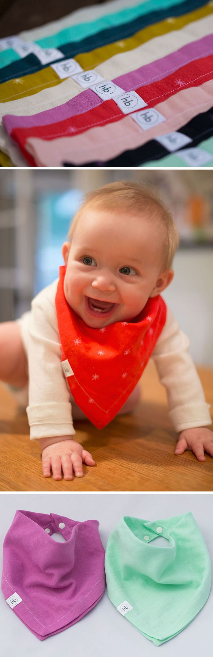 Ollie Bandana Drool Bib   Hemming Birds Boutique 10 different colors of soft, absorbent double gauze for your stylish little one. The won't want to take it off :) Unique gift for the mom's who have everything.