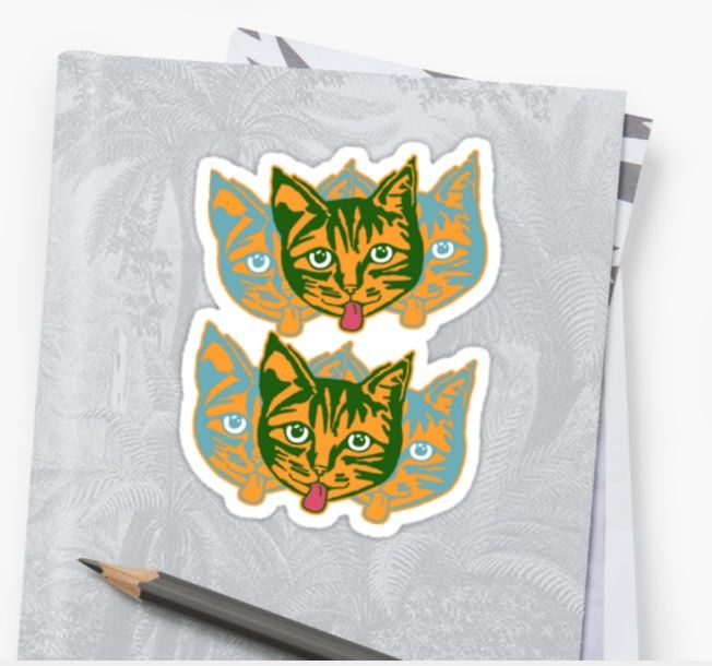 Mollycat Orange Stickers - Buy any 6 now and get 50% off! #stickers #redbubble #cats #catlovers #mollycatfinland #catseyes #orange #cheeky #cute #catstuff #redbubblestickers #stick #kids #pets #catscatscats #caturday