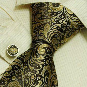 Brown Paisleys men ties Gold pattern birthday gift mens accessories silk tie links set A2077