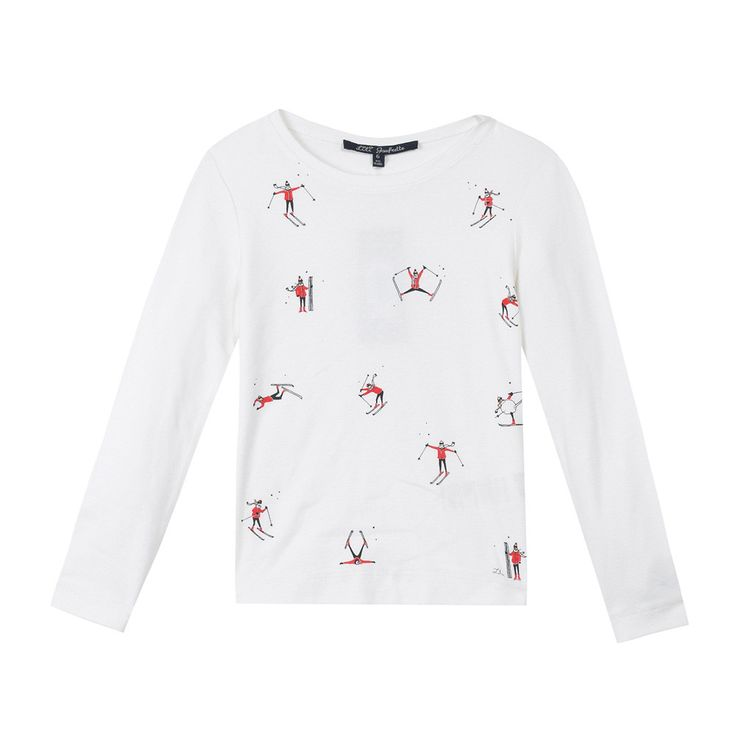 T-shirt blanc d'hiver Lili Gaufrette Fille   Kidiliz