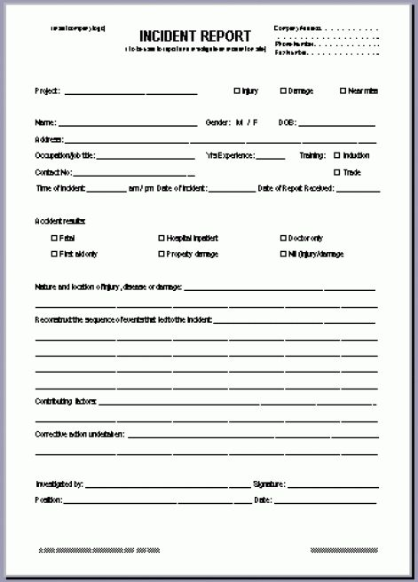 incident reporting form