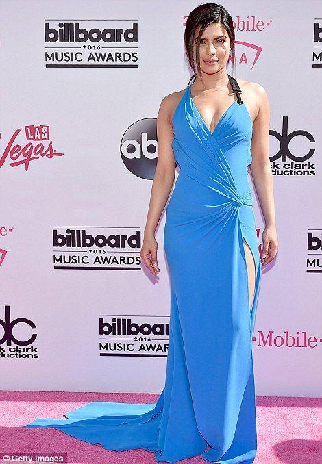 Elegant: Actress and Miss World 2000 winner Priyanka Chopra wore a pretty blue gown with flattering ruching