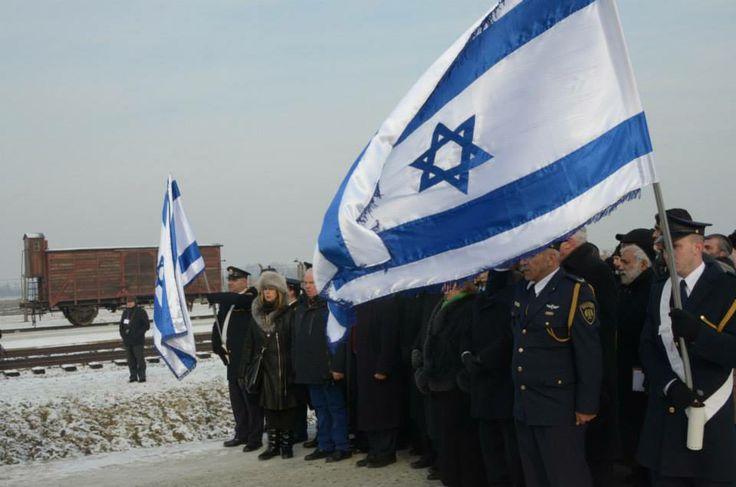 Israeli delegation in Birkenau.