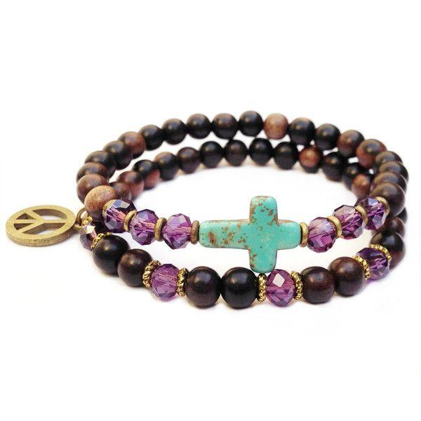 ebony and sideways cross bracelet stack by #lovepray #jewelry