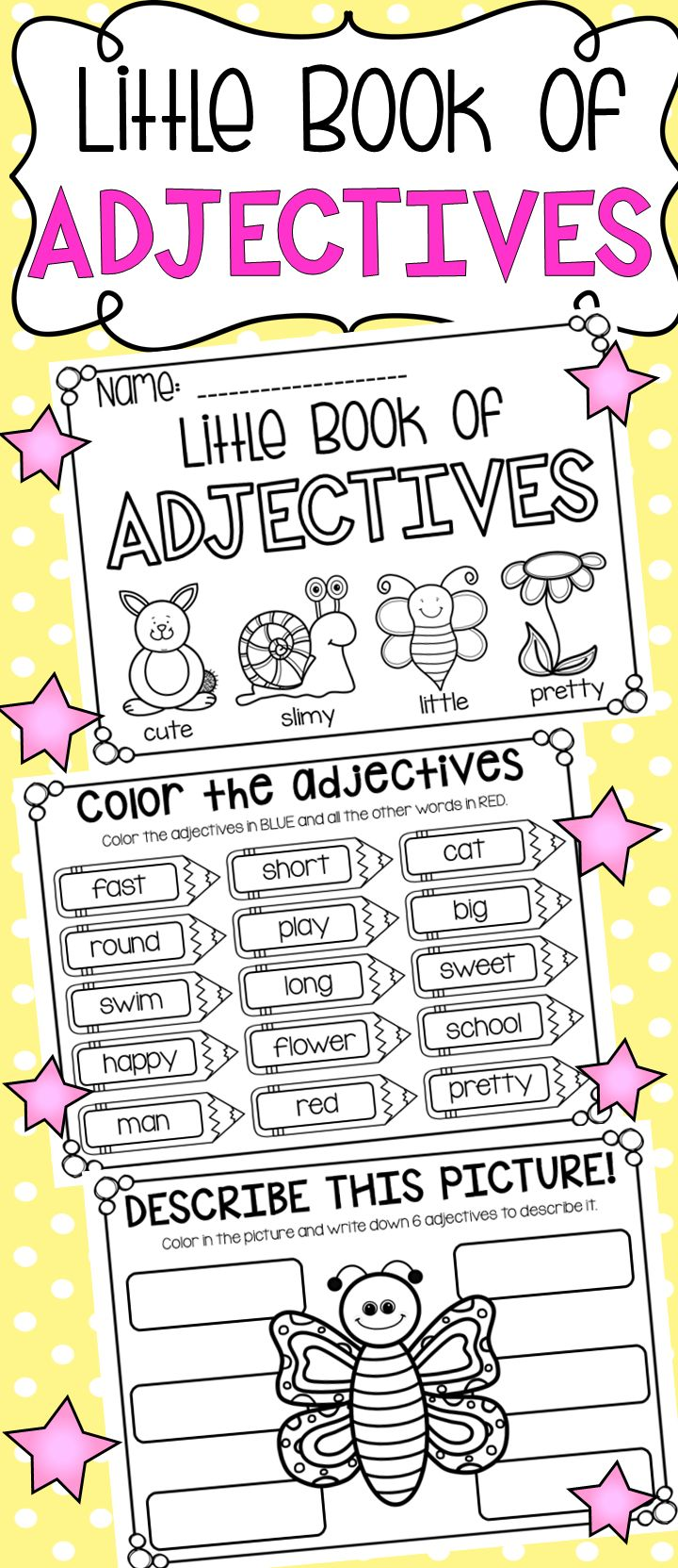 Little Book of Adjectives - Printable Booklet with Worksheets for Kindergarten, First Grade and Second Grade.