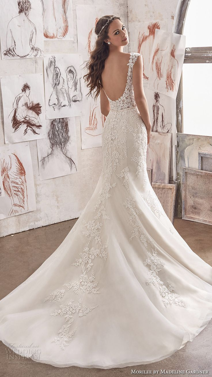 morilee spring 2017 bridal cap sleeves illusion boat sweetheart neckline heavily embellished bodice elegant romantic fit and flare wedding dress open scoop back chapel train (5509) bv
