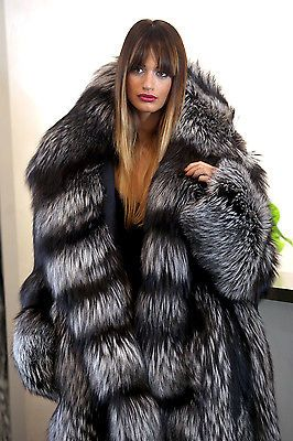 Pelliccia cappotto di pelliccia Cappotto Volpe Argento SILVER FOX FUR COAT JACKET PELLICCIA лиса