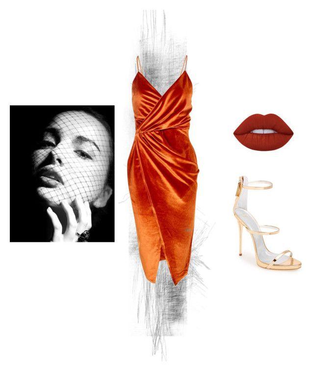 """Little orange dress"" by annelenelala on Polyvore featuring Boohoo, Lime Crime and Giuseppe Zanotti"