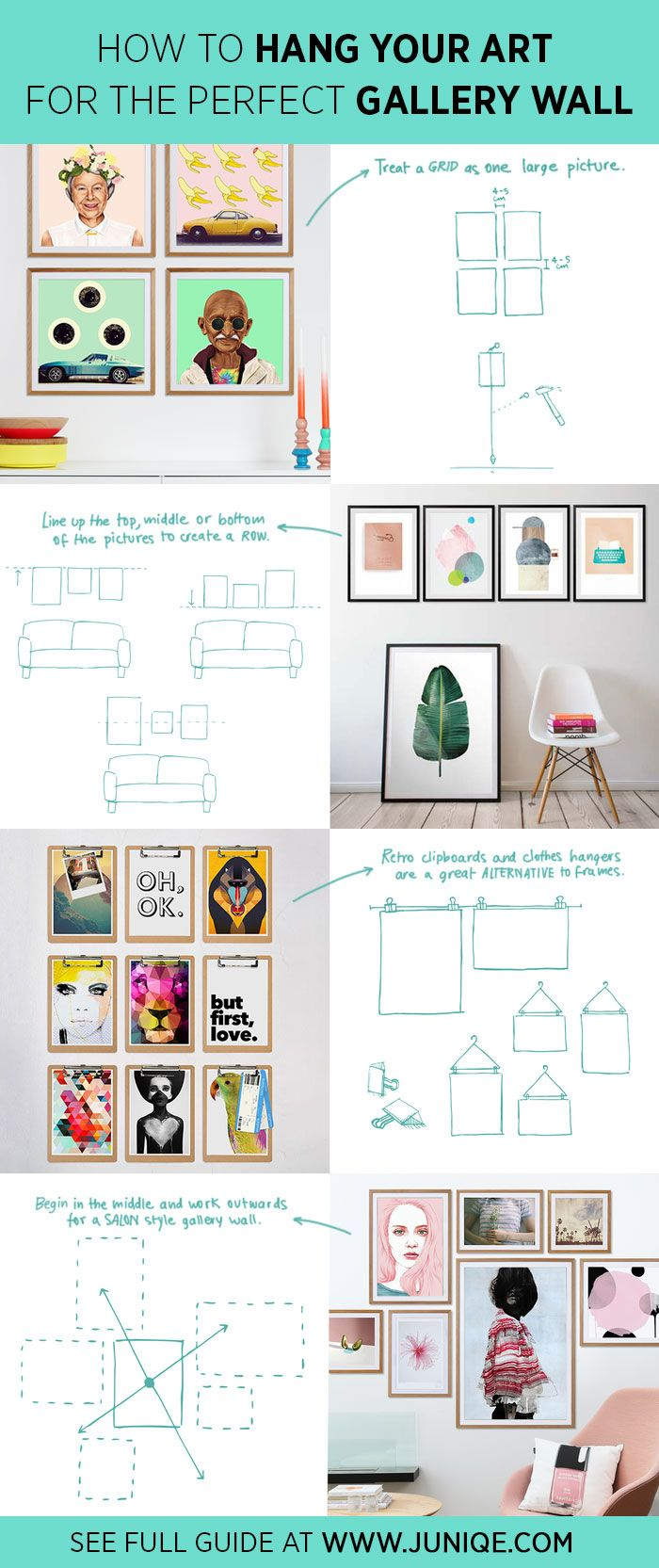How to Hang Your Art for The Perfect Gallery Wall. Gallery walls are one of the most important part for your home decor scheme. The tips above are just a jumping-off points to inspire you not only how to arrange arts into brings cherished moments but also reflects your personalities. Be Unique! See full guide at www.juniqe.com