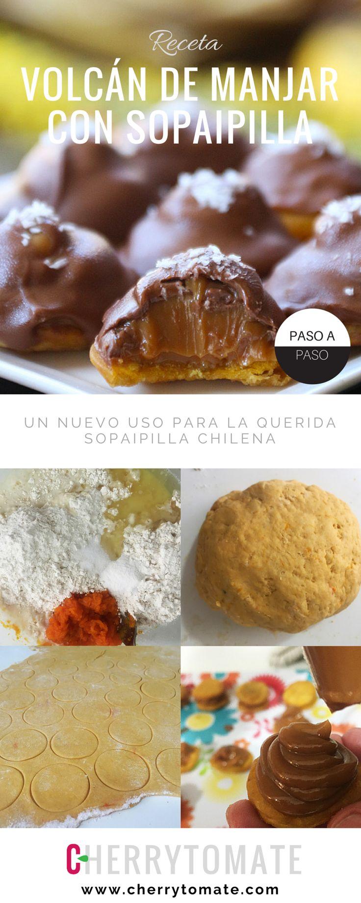 Receta de Volcán de Manjar con base de Sopaipilla bañado en Chocolate - Un nuevo uso para la querida sopaipilla chilena - Receta típica chilena