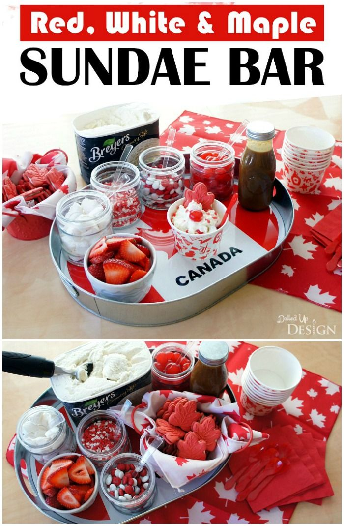 This Canada Day sundae bar has a fun Red, White and Maple theme perfect for celebrating Canada! Delicious ideas for toppings plus easy DIY decorating ideas.