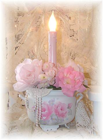 Shabby Chic Pink Candle Light