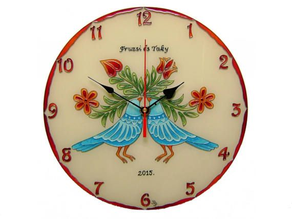 Personalized Wedding Gift Lowebirds Unique Wall Clock,  Hand Painted, Silent, Glass Paiting Clock, Blue Birds of Happiness