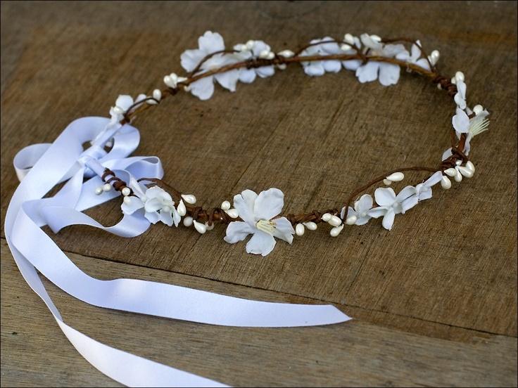 Couronne de fleurs et baies: Neige n°2 (blanc)