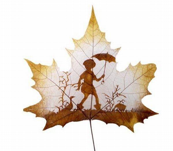dessins feuilles morte automne 01 Des dessins sur des feuilles mortes  divers bonus art