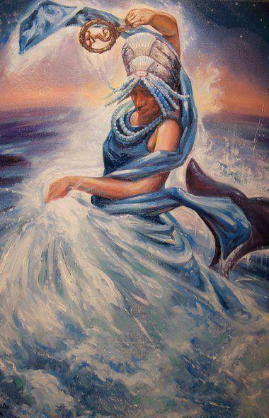 """DA SÉRIE CULTOS E MITOS AFRICANOS ORÍXÁS - YEMANJÁ """"Deusa das Águas. Dentro do sincretismo passou a ser assimilada à Virgem Maria."""" (W.W. da Mata e Silva) Da pasta; Tradições, Mitologias, Ícones, Holismo."""