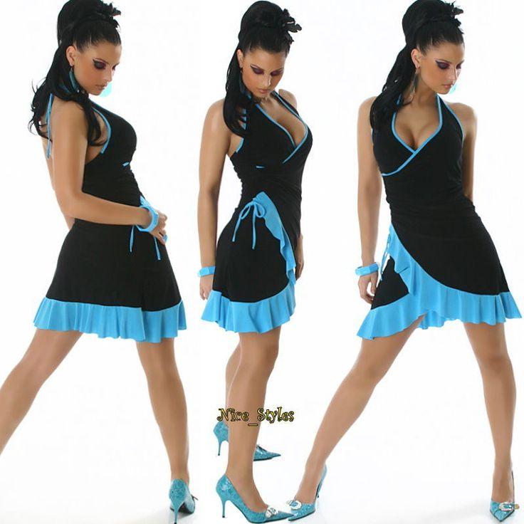 Neckholder Wickel Kleid Salsa Minikleid Latino Tanz Abendkleid* XS S M-34 36 38 | eBay