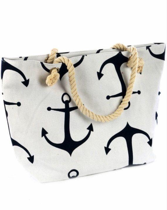 Anchor Beach Bag Summer Beach Bag Nautical Bag by NicolesCraftRoom