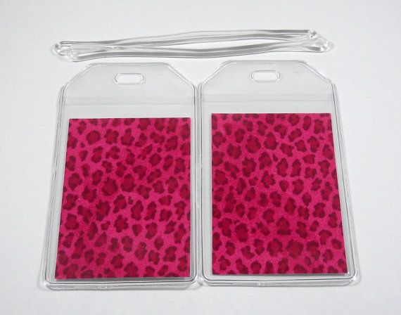 Luggage Tags Set of 2 Pink Cheetah by BostonLinz on Etsy