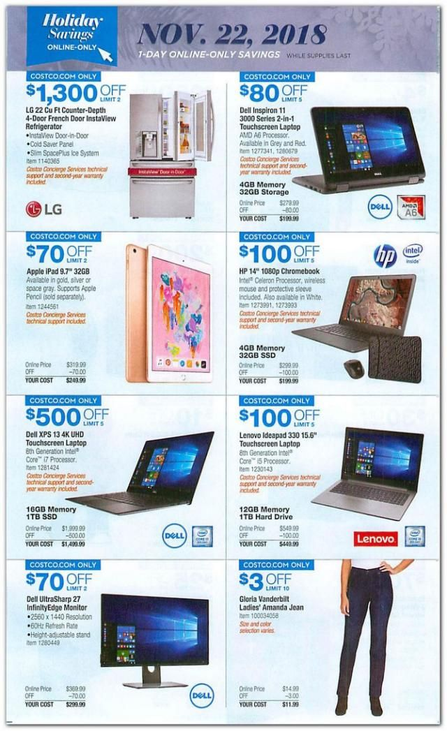 Costco Black Friday 2018 Ad Leaks Cheap Ipad Xbox And Laptop Deals Thanksgiving Ads Thanksgiving Deals Black Friday