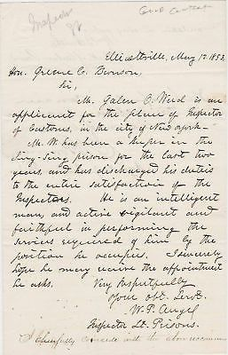 PRISON GUARD INSPECTOR OLD CORRESPONDENCE LETTER 1850s