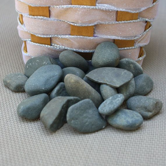 25 Small Dark Wishing Stones  Guest Book Stones by LakefrontLiving