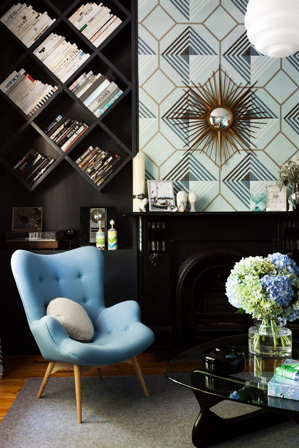 Angled Bookshelves For The Top Floor Office I Also Like Wallpaper And Color Of Find This Pin More On Living Room