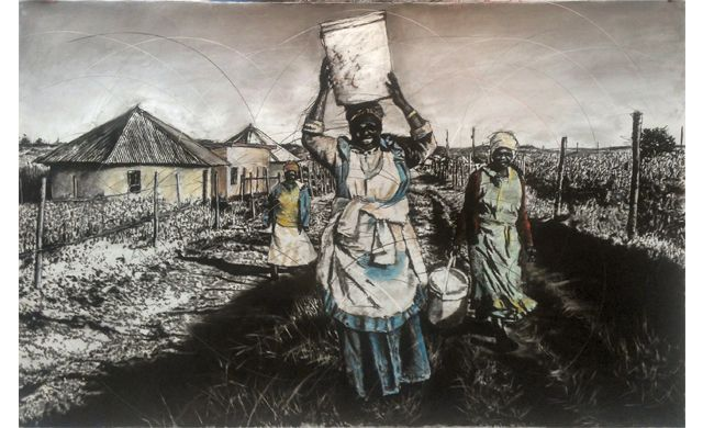 An original #PhillemonHlungwani entitled 'Qunu 1', charcoal and pastel on paper, 140 x 219 cm #SouthAfricaArt #SouthAfricanArtist #Art #Qunu For more please visit: www.finearts.co.za