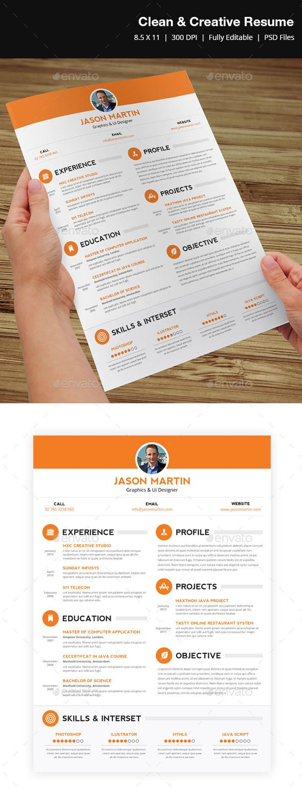 Clean & Creative Resume  - #Resumes Stationery Download here:  https://graphicriver.net/item/clean-creative-resume-/3909052?ref=Suz_562geid