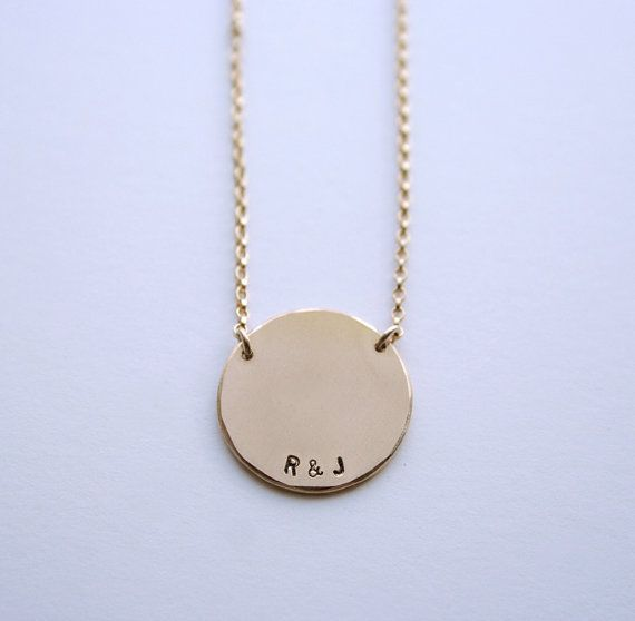 Personalized large gold pendant necklace - Initial necklace with rolo chain - Disc necklace