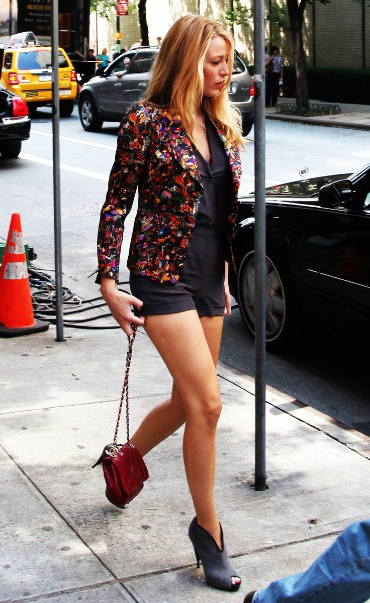She has a great style! colorful #blazer + #shorts!