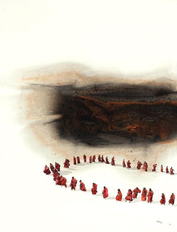 Iranna, G R, Shadow of the Darshan - 57.5x41in, Mixed media and Watercolour on Paper, 2012