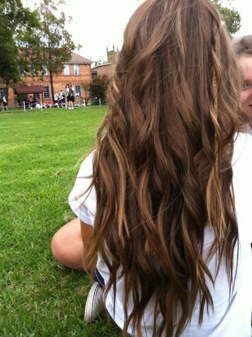 wavy brown hair with braid strand.. this makes me want to never ever cut my hair