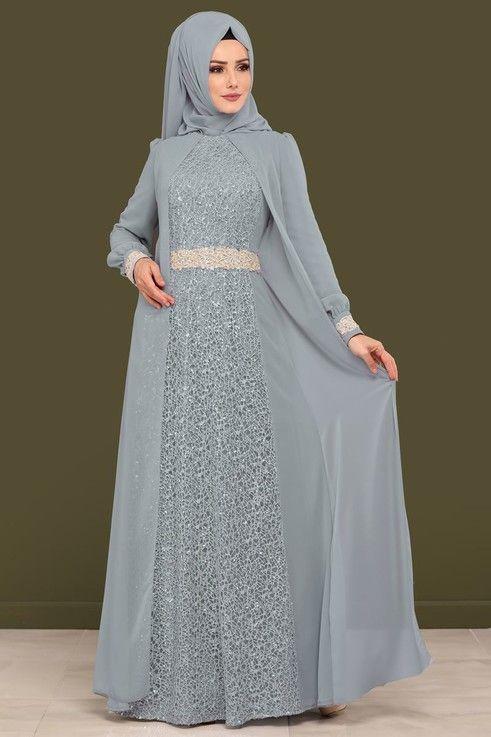 Abendkleid Pulpayet Detail Chiffon Abendkleid ALM52717 Grau