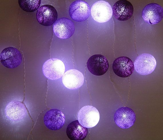 Solar Mixed Purple Shades Cotton Ball Fairy by FairyLightsThailand, $19.49
