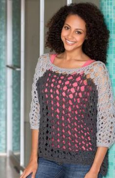 Colour Block Top Free Crochet Pattern from Red Heart Yarns ..★ Teresa Restegui http://www.pinterest.com/teretegui/ ★..