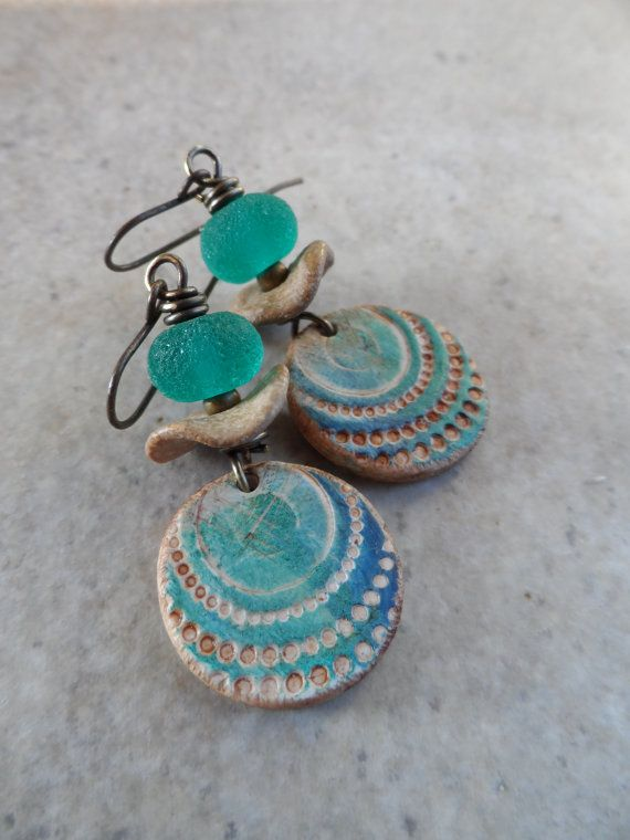 At First Sight ... Polymer Clay Ceramic Lampwork by juliethelen, $32.00 Another set of earrings featuring my polymer clay beads, love what Julie has done :